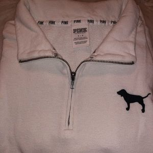 VS Pink Half Zip Pullover - White